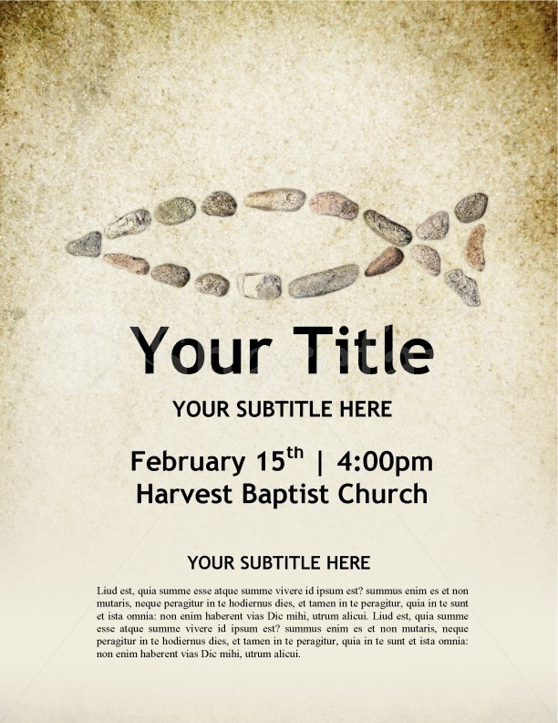 Fish Symbol Church Flyer Template | page 1