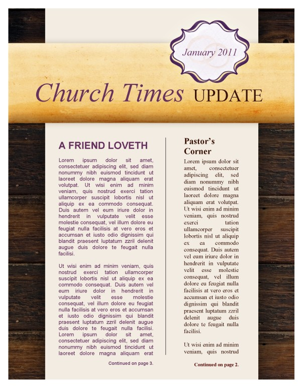 Marriage Church Newsletter Template