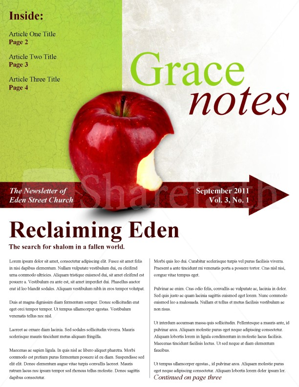 apple church newsletter template template
