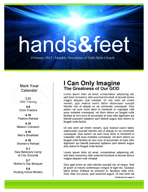 I Can Only Imagine Church Newsletter | page 1