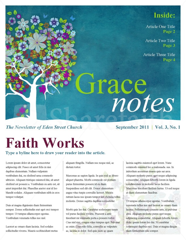 Blossom Tree Church Newsletter Template