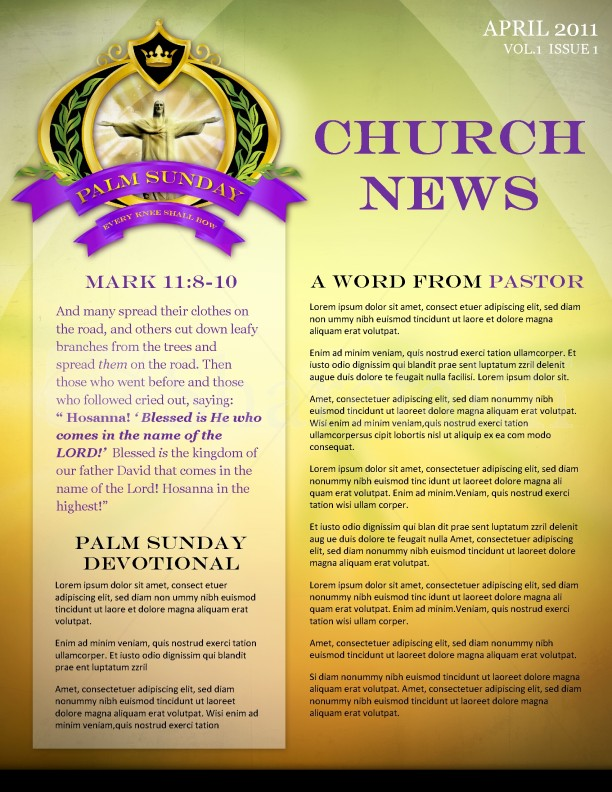 Palm Sunday Church Newsletter