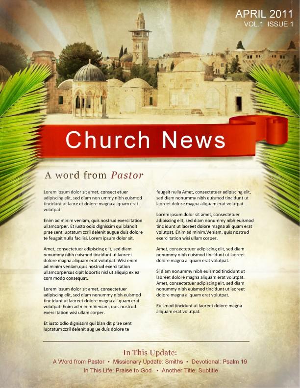 Palm Sunday Jerusalem Newsletter Template Templates