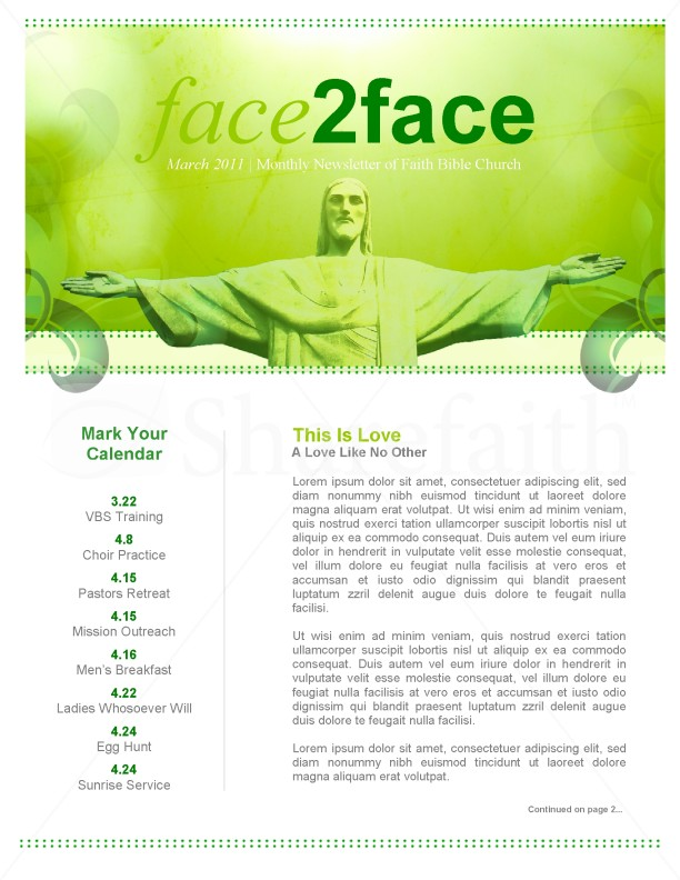 Jesus Love Church Newsletter Template