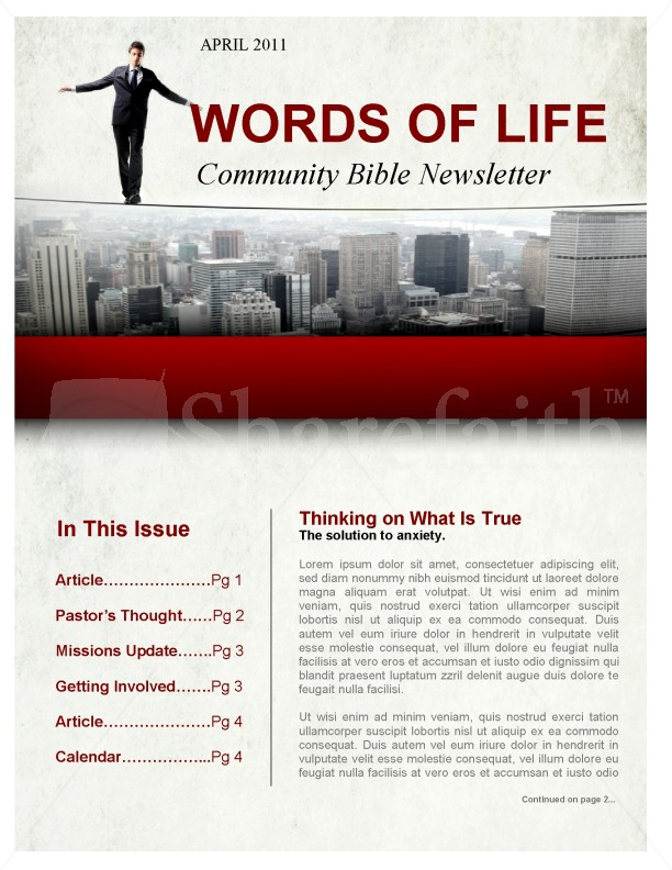 Fear Church Newsletter | page 1