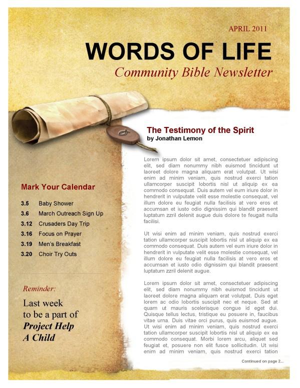 Testimony Church Newsletter