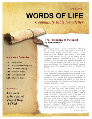 Testimony Church Newsletter