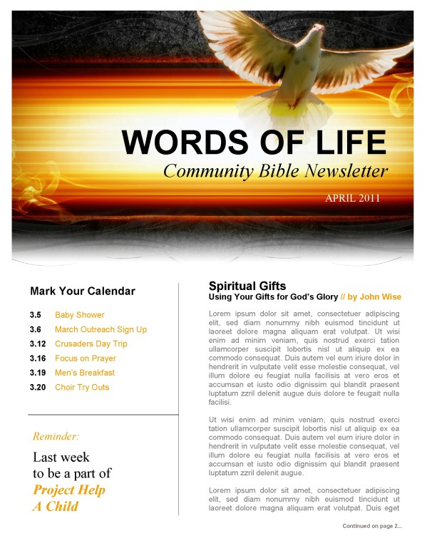 Holy Spirit Dove Church Newsletter