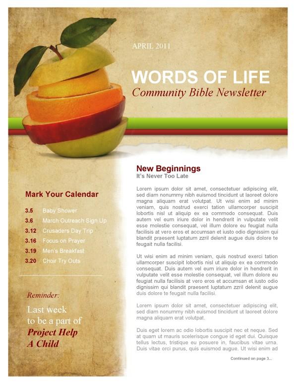 Fruit Church Newsletter