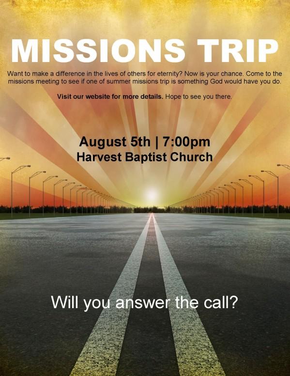 Summer Missions Trip Church Flyer