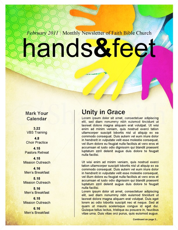 Colorful Church Newsletter | page 1