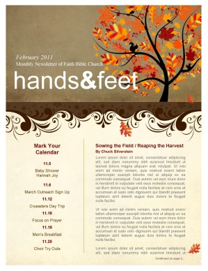 Tree In Autumn Church Newsletter Template