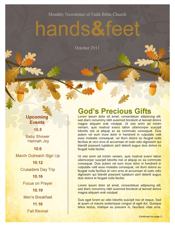 Fall Leaves Easy Church Newsletter Template