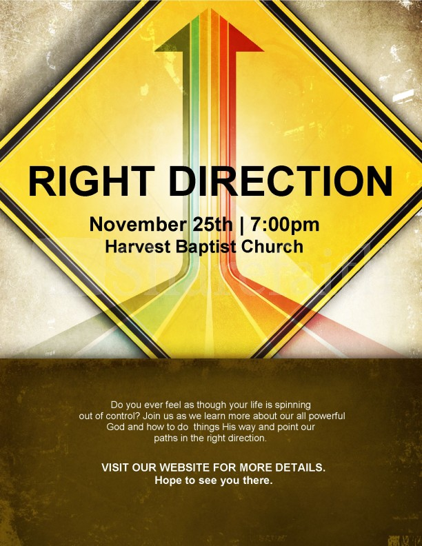 right direction church flyer template
