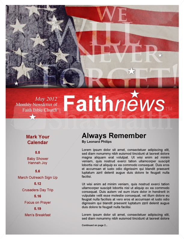 Memorial Day Newsletter Design | page 1