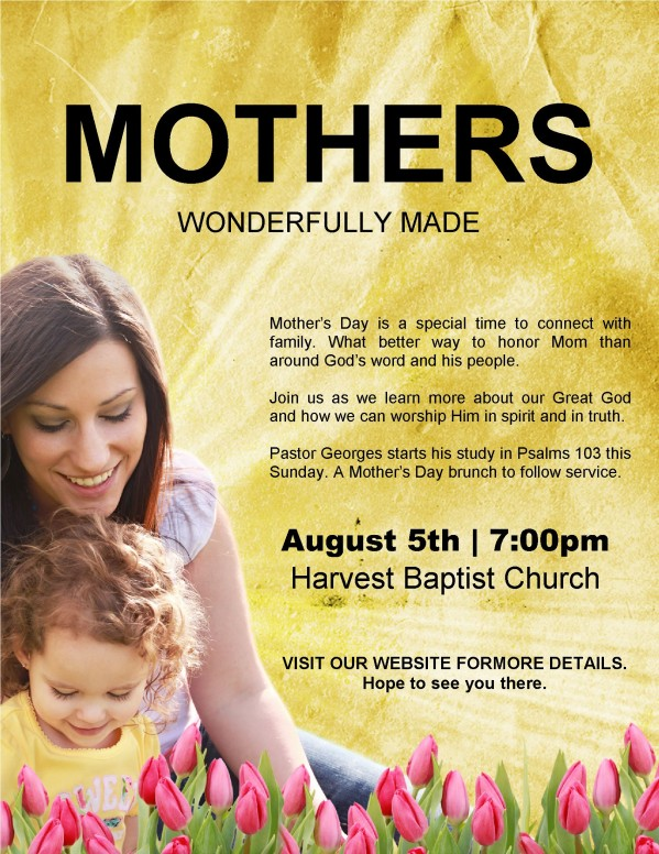 Mother's Day Service Flyer Information