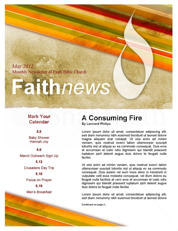 free church newsletter template