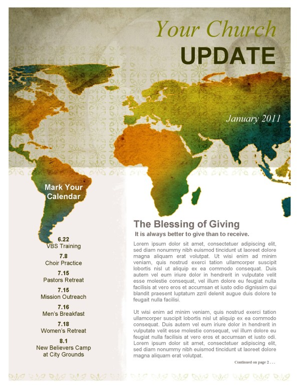 Missionary Outreach Church Newsletter