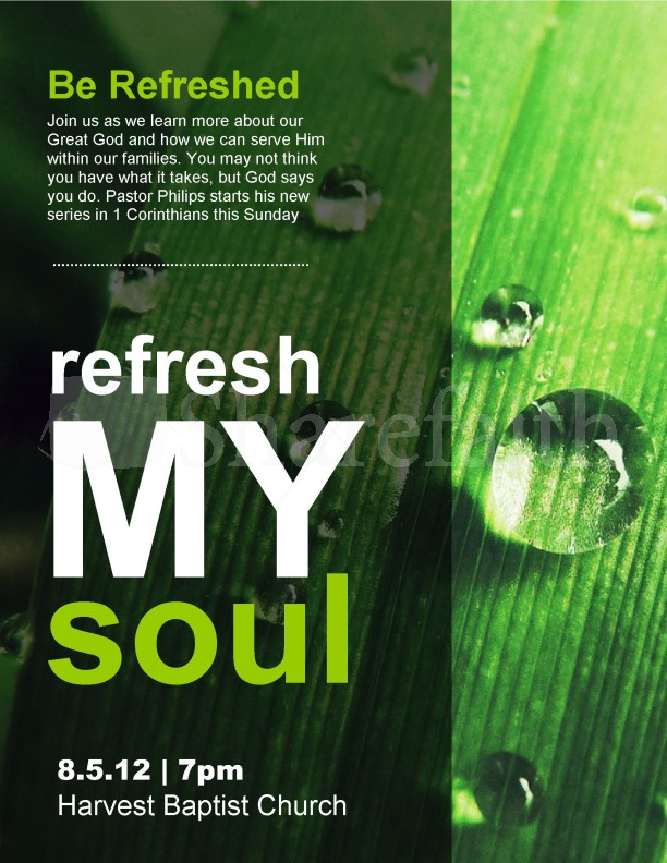 refresh my soul church flyer template template flyer templates