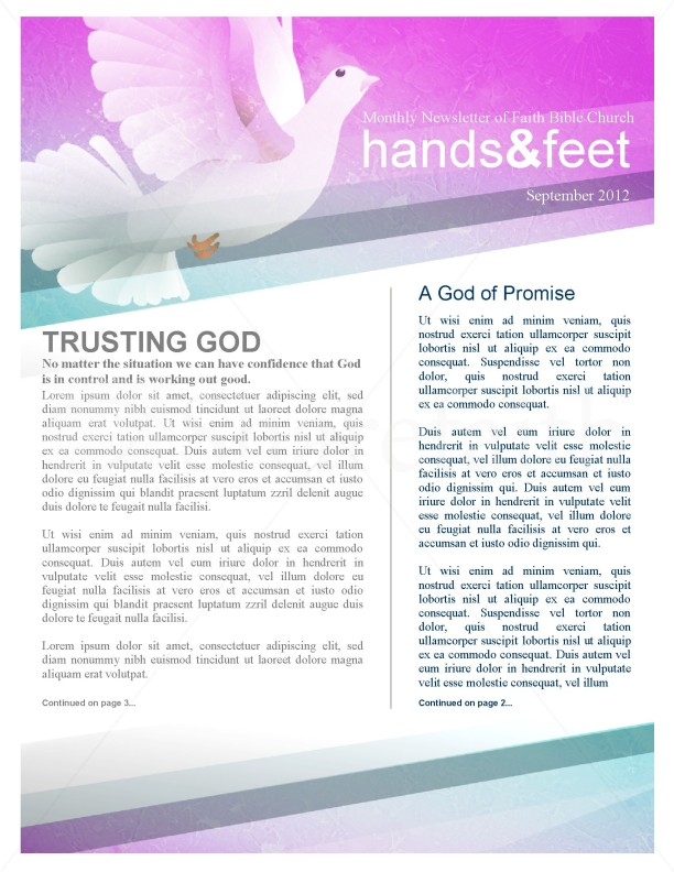 Holy Spirit Dove Church Newsletter Template | page 1