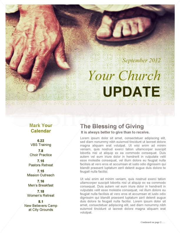 Jesus' Hand Church Newsletter Template | page 1