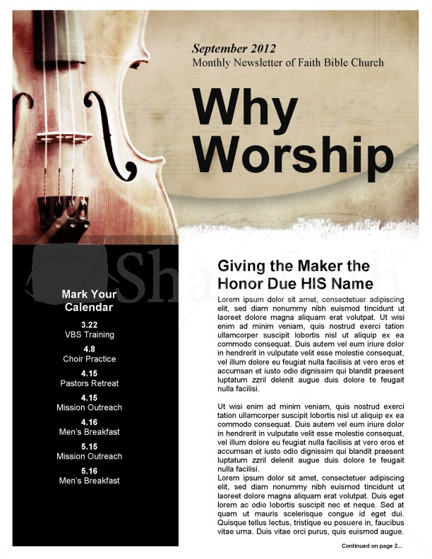 Church Newsletter Worship Theme | page 1