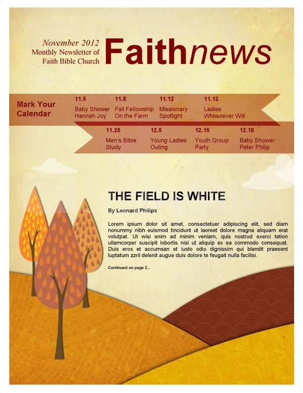 church bulletin templates for word - fall forest newsletter template template newsletter