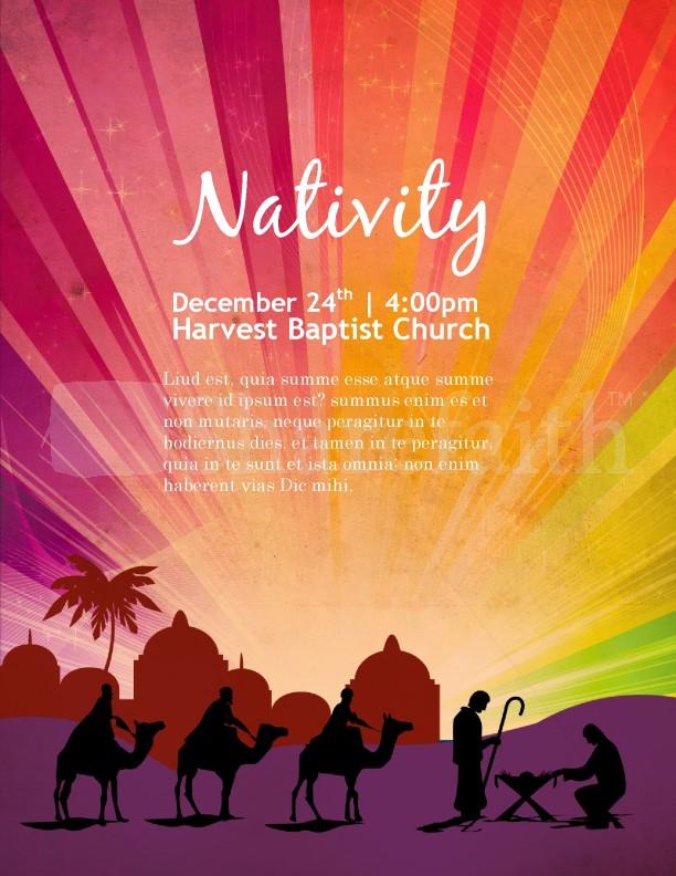 Nativity Poster Church Flyer Template Template Flyer Templates