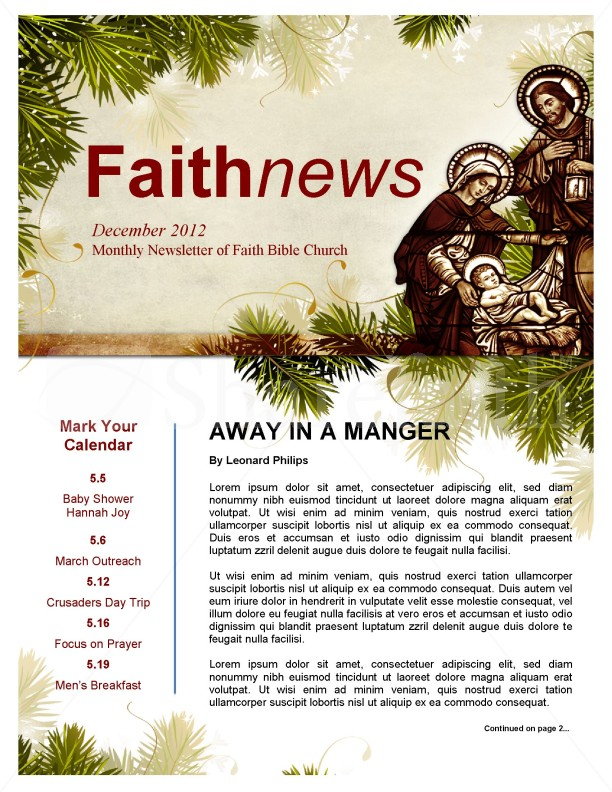 Away in a Manger Church Newsletter Template