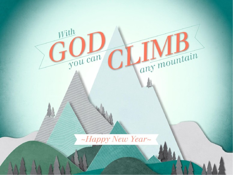 Happy New Year Mountains PowerPoint Template