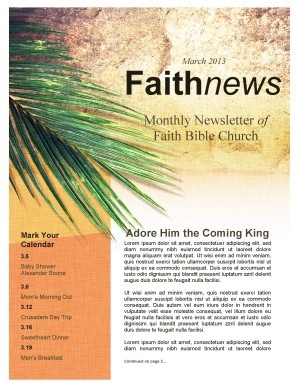 Palm Sunday Newsletter Template for Church