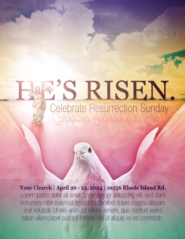 He Is Risen Easter Church Flyer