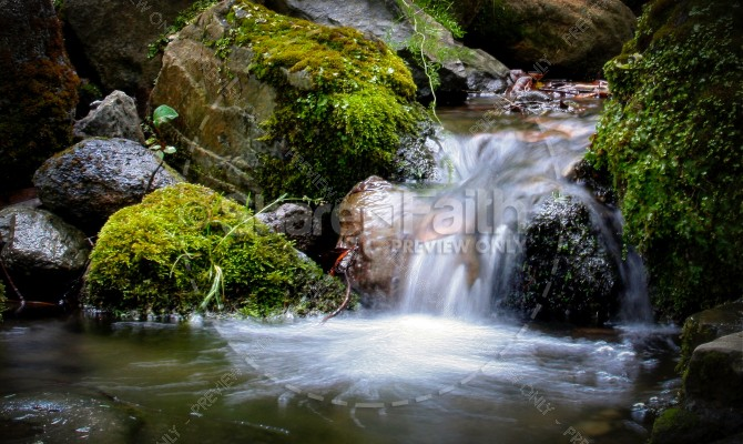 Waterfall Religious Stock Photo