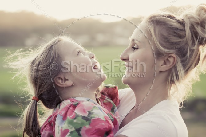 Mother Daughter Religious Stock Photo