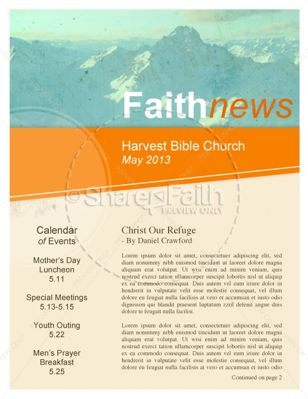 pentecostal church newsletters template