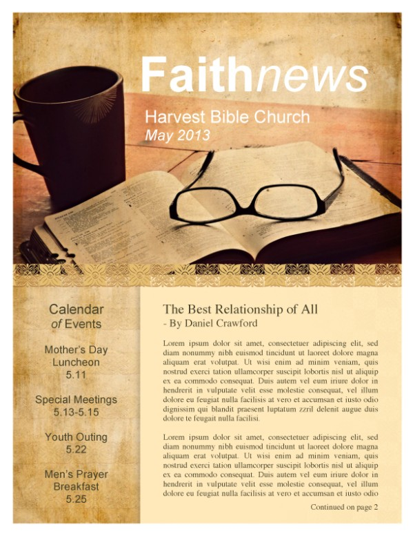 Bible Church Newsletter Template