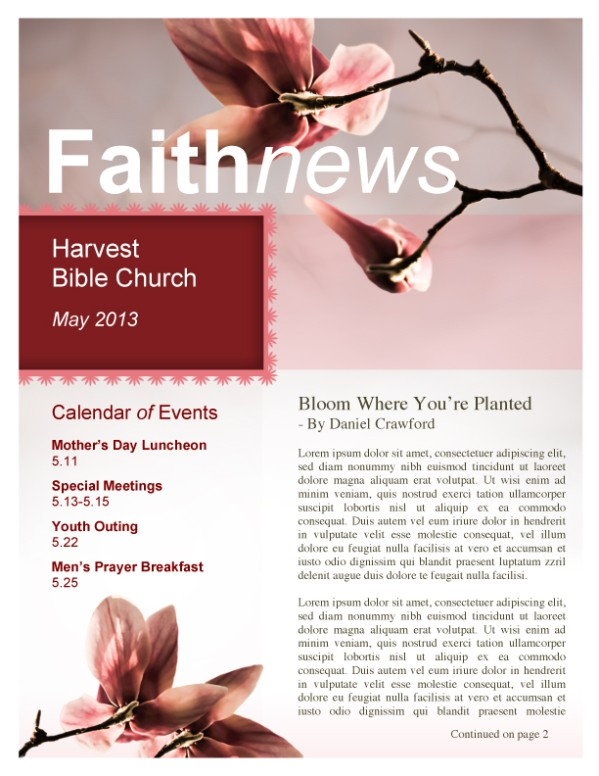 Flower Newsletter Template for Church