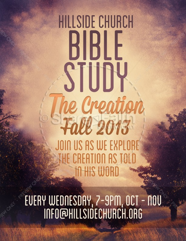 Creation Bible Study Flyer Template Template | Flyer Templates