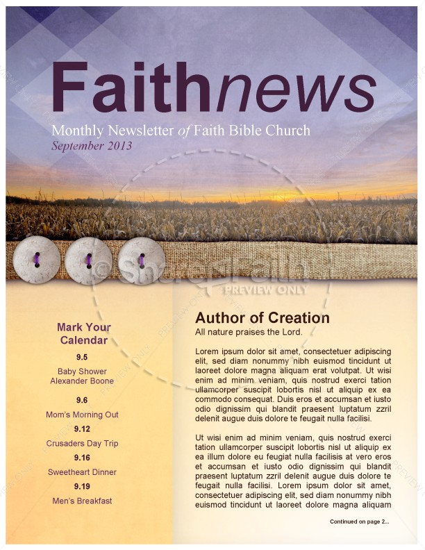 Harvest is Here Church Newsletter