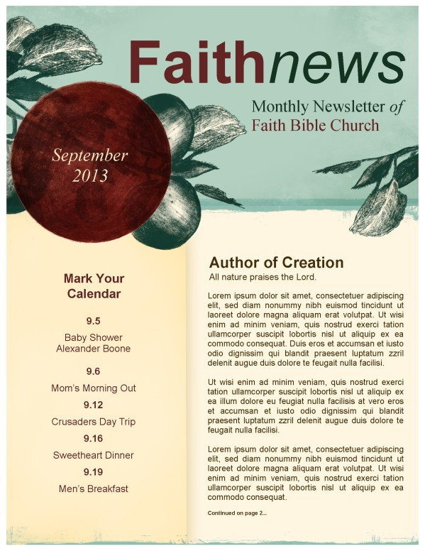 Bearing Fruit Church Newsletter