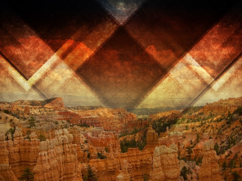Triangle Cliff Scene Religious Background