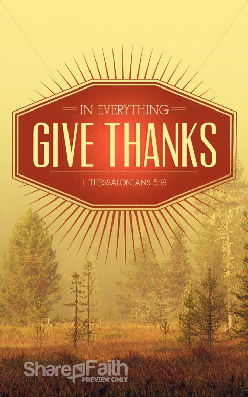 Give Thanks In Everything Church Bulletin Cover Harvest