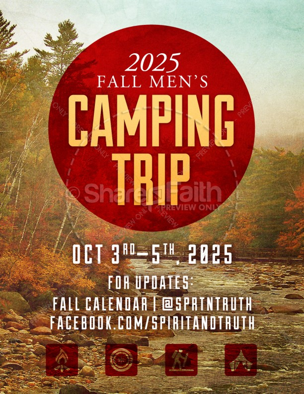My Help Comes From You Camping Trip Ministry Flyer Template