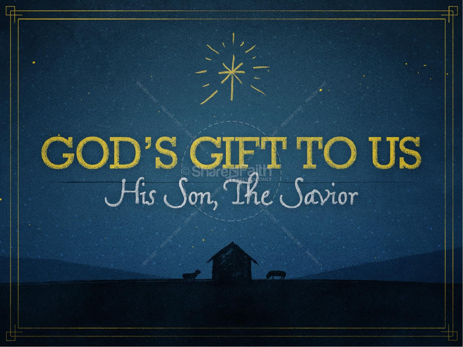 God's Gift to Us Christmas PowerPoint Template | slide 1