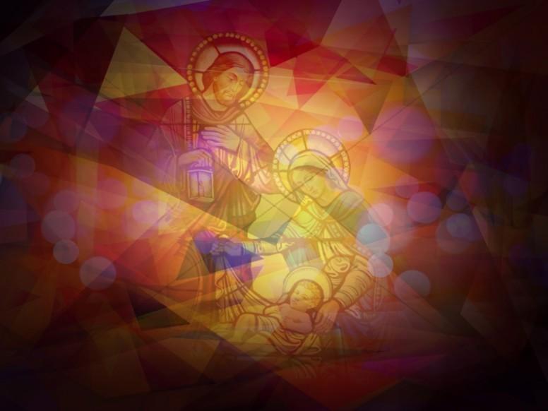 Mosaic Nativity Scene Religious Background