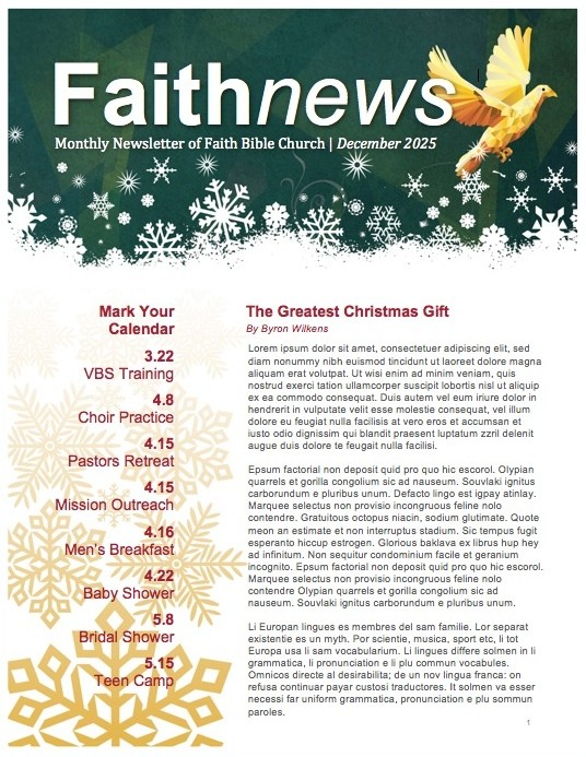 Experience True Peace Religious Newsletter