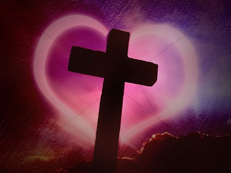 Cross Design Christian Background Heart