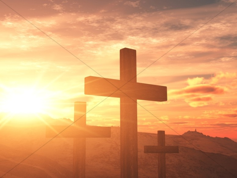 Cross Design Christian Background Setting Sun