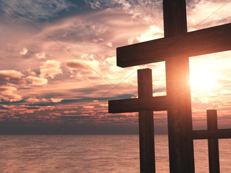 Cross Design Christian Background Ocean Sunset