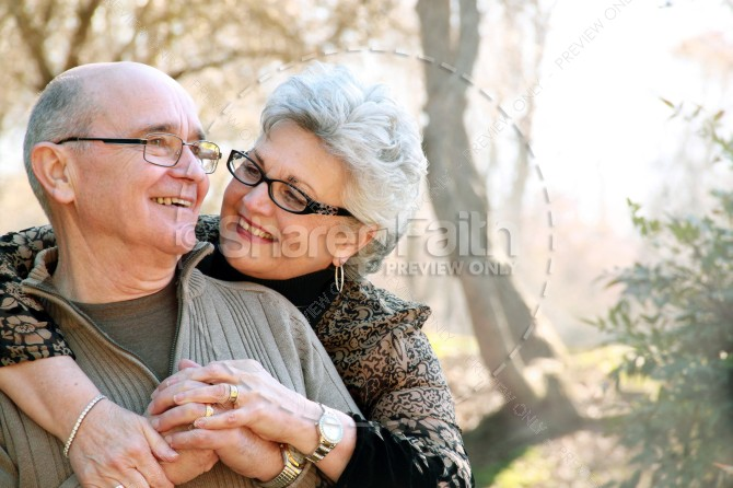 Elder Couple Hug Love Marriage Religious Stock Photo